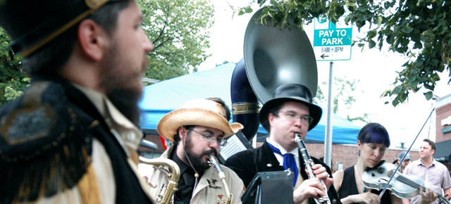 Edward Norton's Stationary Marching Band performing in Union Square